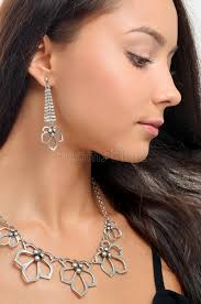 earing model necklace and earring on woman beautiful model with perfec