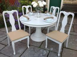 shabby chic white round dining table u0026 4 vintage chairs shabby