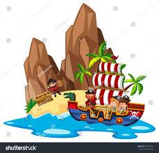 kids sailing on pirate ship illustration stock vector 695799391