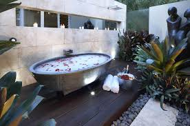 captivating outdoor bathroom with oval stone bathtub and candle captivating outdoor bathroom with oval stone bathtub and candle lights