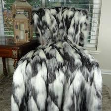 Fox Fur Blanket Gray Black Throw Blanket Faux Fur Blanket 16438 U2013 Pillowsanddecor