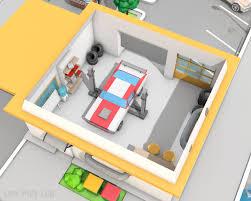 low poly car service gas station by bigballsstudio 3docean