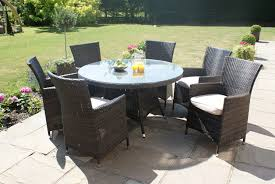 paris 6 seater round rattan dining set