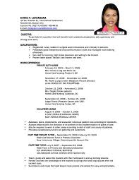 Sample Resume Nurses by Sample Resume For Filipino Nurses Resume For Your Job Application