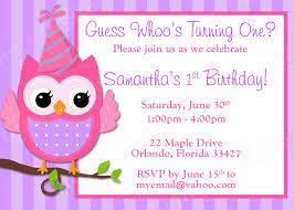 Birthday Invitations Card Owl Birthday Invitations Kawaiitheo Com