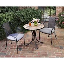 Metal Garden Table And Chairs Home Styles Terra Cotta 3 Piece Tile Top Patio Bistro Set With