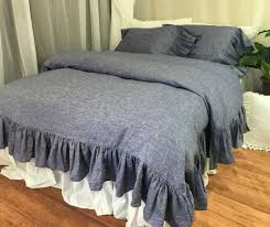 chambray denim duvet cover with mermaid long ruffles chambray