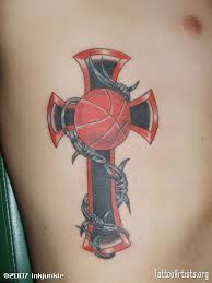 basketball and barbed wire cross