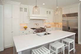 White Kitchen Pendant Lights by L Shaped Kitchen With Central Island Design Ideas
