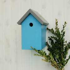 Verditer Blue Handcrafted Simply Colour Bird Box Contemporary Garden Gift