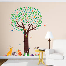 large tree and animal friends wall stickers