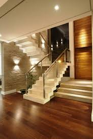 luxury white color modern stair flor home interior design ideas