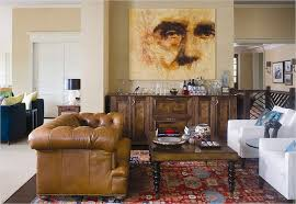 Eclectic Masculine Living Room Design Ideas Using Brown Leather - Chesterfield sofa design ideas