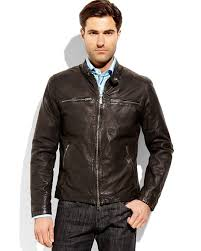 black motorcycle jacket mens vince camuto four pocket leather motorcycle jacket in black for