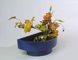 Ikebana Vase Half Circle Suiban Ikebana Container Available In Black U0026 Cobalt