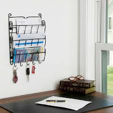 Wall Organizer For Office 3 Tier Letter Mail Rack With Key Holder Office Kitchen Wall