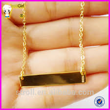 Name Bar Necklace Gold 2015 Cheap 18k Gold Stamped Bar Necklace 925 Sterling Silver