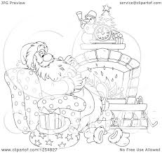 cartoon of black and white santa relaxing in front of a fireplace