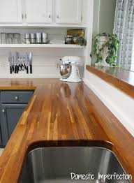 white kitchen cabinets with butcher block countertops my butcher block countertops two years later domestic imperfection