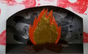 buche de cheminee carton de récupération de la feutrine rouge 3 brindilles de