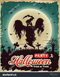 vintage halloween poster set design ghost stock vector 208654657
