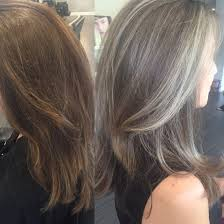 photos of gray hair with lowlights transitioning from colored hair to silver grey hair saltandpepper