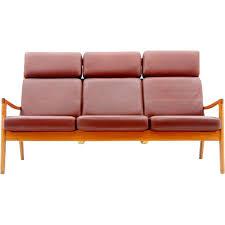 high back leather sofa ole wanscher high back leather sofa poul jeppesen danemark 1970s