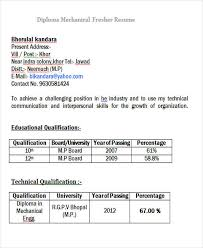 Resume For Mechanical Fresher 43 Professional Fresher Resumes