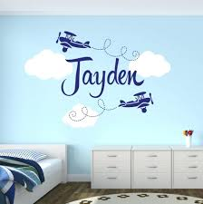 wall decor chic personalized airplane name clouds decal nursery