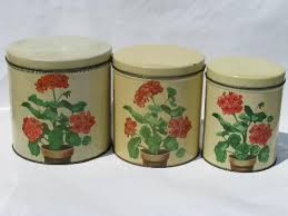 vintage metal kitchen canister sets 50s vintage metal kitchen canisters pink geraniums canister set