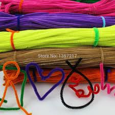 200pcs multicolor mixed plush iron wire flexible flocking craft