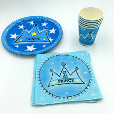 wedding party plates 60pcs lot blue crown plates cups kids birthday wedding party