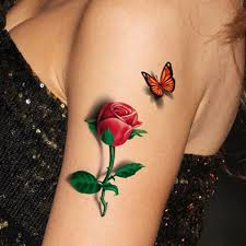 2pcs 3d rose tattoo body art chest sleeve stickers glitter