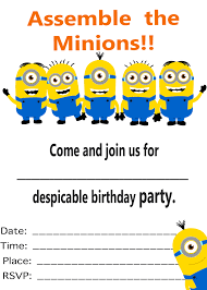 Invitation Card For A Birthday Party Minion Birthday Party Invitations Kawaiitheo Com