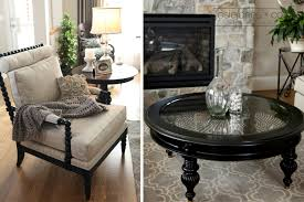 round glass top pier one coffee table in black on quatrefoil area