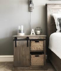 Wood Sliding Barn Door Night Stand End Table Console Furniture