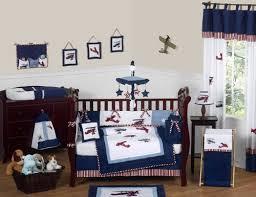 Baby Boy Bedding Crib Sets White And Blue Vintage Aviator Airplane Plane Baby Boy