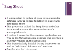 Guidance Counselor Brag Sheet High And The Application Process Ppt