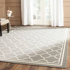Safavieh Indoor Outdoor Rugs Safavieh Indoor Outdoor Courtyard Anthracite Beige Rug 5 X 5