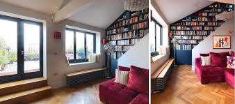 Living Room With Stairs Design That Prove Staircases And Bookshelves Make A Great Duo