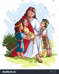 bible story jesus children available raster stock vector 72073801