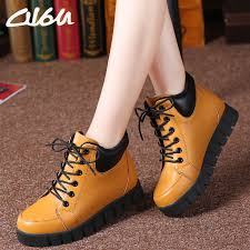 womens boots rubber sole boots winter leather lace up moccasins toe work