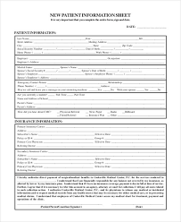Patient Information Sheet Template Patient Sign In Sheet Templates Free Premium Templates