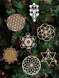 sacred geometry holiday ornaments set of seven laser cut
