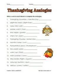 free thanksgiving analogies worksheet thanksgiving ideas juxtapost