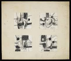 four abstract sketches all mounted on the same piece of card