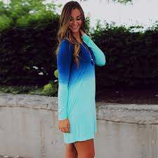autumn dip tie blue ombre dress long sleeve above knee short dye