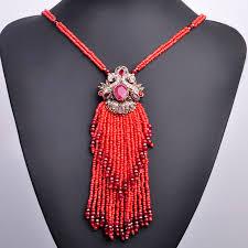 long red pendant necklace images Vintage long tassel pendant necklace indian turkish statement jpg