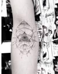 fine line geometric style eye of providence tattoo on
