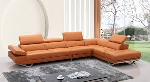 Sofa Sectional Leather Casa Quebec Modern Orange Leather Sectional Sofa